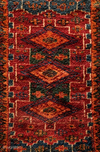Afshar bedding/yatak style rug, Quchan - Khorassan, Late 19th Century.  Incredible plush wool and great colors. A couple of small repairs.  106 x 140 cm