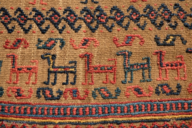 Veramin (probably) Afshar/Qashqai/Shahsavan saddle cover or possibly Ru-Khorsi, Late 19th to early 20th century. A bit mysterious in its tribal provenance with a Qashqa'i feel, an Afshar example in existence and Shahsavan  ...