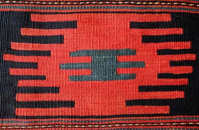 """Shahsavan Salt Bag, Late 19th Century. Shirvan kilim design of """"fingered"""" medallions.  Wonderful deep green in lower left medallion.  Beautiful striped back with a stunningly rich array of colors.   ..."""