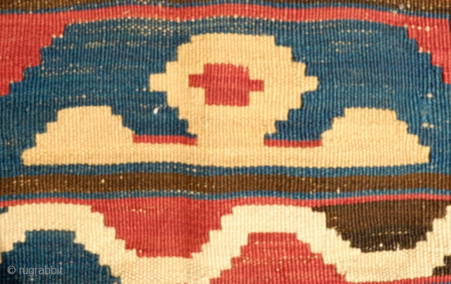 Caucasian Kilim, Late 19th Century.  Outstanding archaic design.  Waves undulate in a mellow, lulling effect.  157 x 195 cm