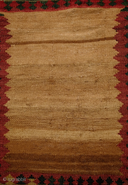 Qashqa'i small sofreh, 3rd to 4th quarter of 19th century.  Fantastically saturated natural colors.  Eight different colors plus a resonating camel wool field with natural abrash.  One small repair  ...