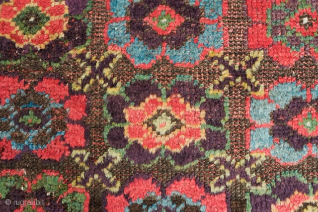 Sauj Bulak, Mid- to late 19th Century, Mina Khani design.  A dazzling blitz of colors.  Saturated greens, purples and yellow testifying to a tribal love of color.  Corroded brown  ...