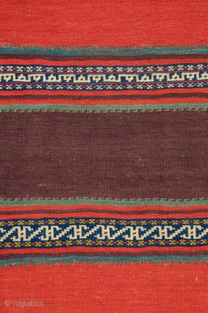 Veramin Kilim, End of 19th Century.  Woven in two panels.  The colors in this thing are truly extraordinary.  So saturated and rich.  It has two small holes which  ...