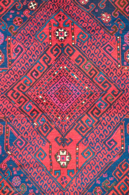 Bergama rug, late 19th century.  This rug has saturated natural colors including the bright cochineal pink, wide kilim ends and a wide flatwoven kilim selvedge along the sides. In perfect condition.  ...