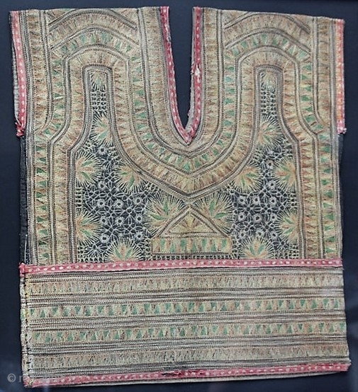 Antique Baju Mesirat (embroidered woman's vest) from Sumatra, Indonesia, Aceh Province. Currently framed.  Please ask for additional photos if needed.