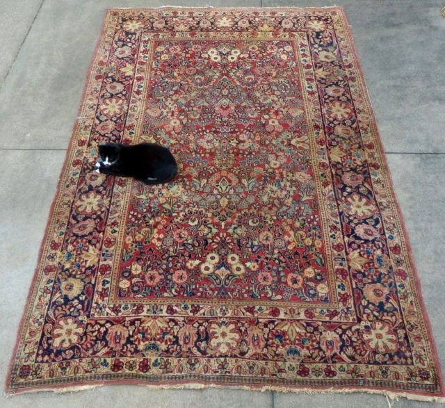 "Sarouk(?). c.1030-40, 9'8"" X 6'1"", Good over all but has a 3"" tear (see picture) and a little wear.