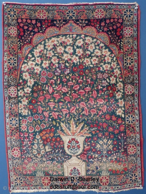 """Small Kerman Millefiori (?) Prayer Rug, 32"""" X 23"""". Good condition, Some low areas, Newer edging. Email me for more info & price: ddbstuff@aol.com, SOLD"""