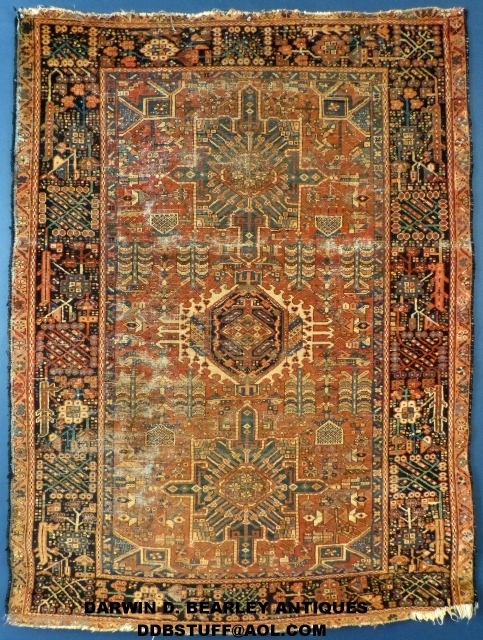"""I believe this to be a Bakhshayesh, Heriz or a Karaja (Not sure) from the turn of the Century. It measures 74"""" X 55"""". It shows wear but no holes or tears. It has been  ..."""