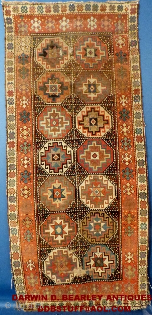 """Antique Caucasian Mogan, c. 1875-1900, used and shows wear, ends and edges are frayed but NO holes or tears. Measures 101"""" X 45"""".  Has been cleaned. Price on Request  You can email me  ..."""