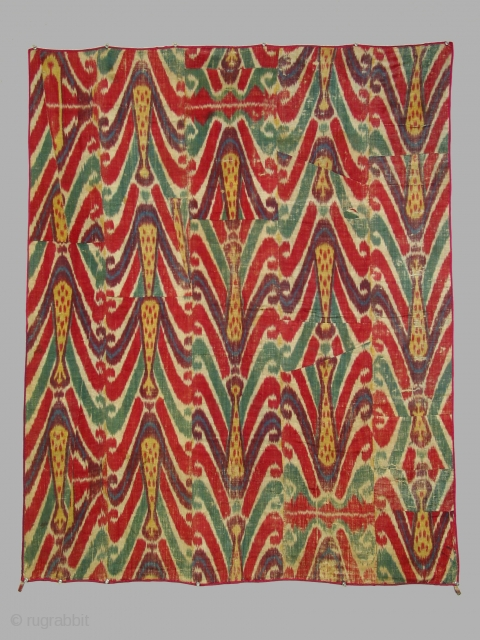Wallhanging, Uzbek, Bokhara, silk warp, cotton weft with block printed cotton backing, 5 loom widths wide, 19th century. Dimensions 46 x 55 inches. Condition: overall wear and abrasion.