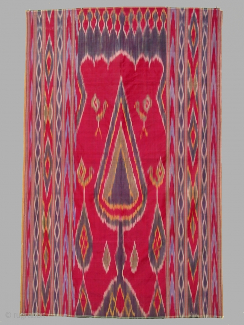 Wallhanging, Yazd, Persia, silk warp and weft, ikat dyed patterning, Zoroastrian, circa 1900, 48 x 72 inches. Condition: several small tears, otherwise as seen in image.