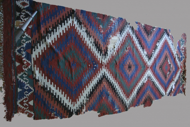 Anatolian kilim, Elmadag region, 62 x 155 inches (158 x 394cm), circa 1800-1850.