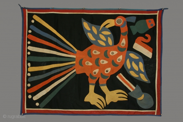 Geneological chief's banner, Abomey, Benin, cotton applique, mid 20th century, 31 x 41 inches