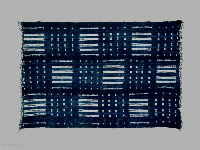 Mantle/wrapper, Baule culture, Ivory Coast, indigo resist dyed patterning, 20th century, 45 x 70 inches.