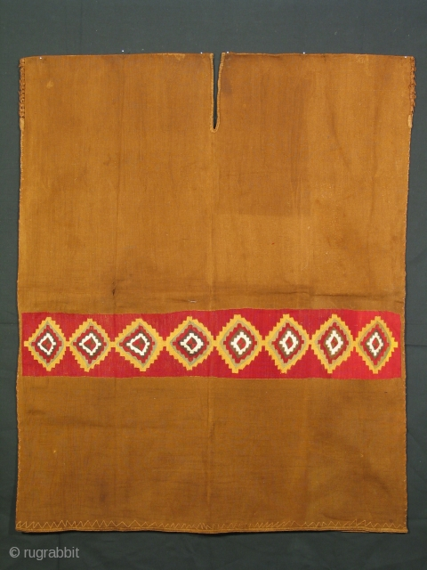Man's tunic, Inca culture, Peru, 15th century, natural brown cotton with dyed alpaca patterning; complete, each side is 32 x 38 inches.