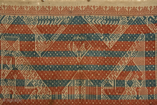 Ceremonial cloth ( tampan), Sumatra, Indonesia, cotton with supplemental weft patterning, 19th century, 27 x 29 inches.