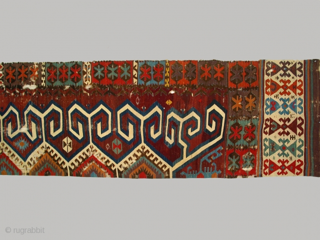 Anatolian kilim half, circa 1800, 92 x 468cm, Central Anatolian kilim (possibly Aydin)displaying large scale hooks/horns projecting from central medallions.  Cleaned and unrestored.