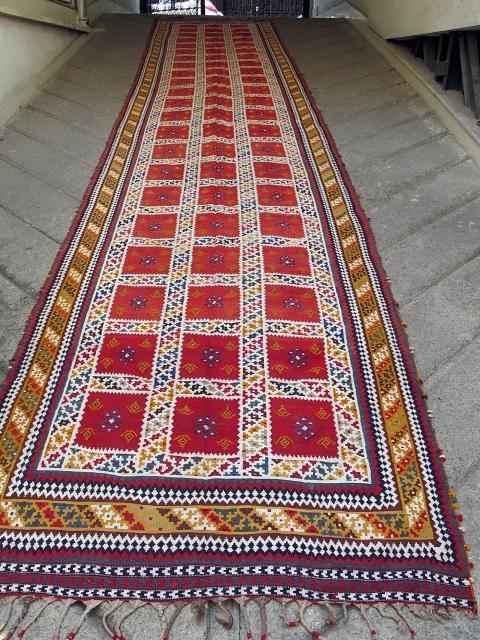 Long old Qashqaee kilim  Circa 1920 ,perfect condition   Size:735x135cm   P.O.R