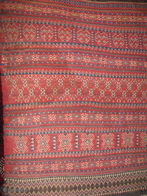 Here is a very nice sistan beluch flat weave bag face with all natural colors,some black natural goat hair and as you see a lots of nice details