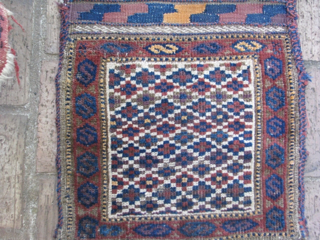 Very old khorjin panel with mostly natural colors white background and unusual design, extra soft wool