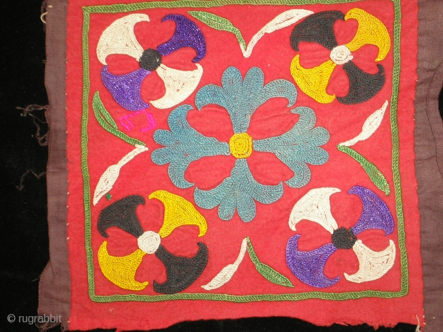 "19th century Tajik embroidery 12""x12"" it was used as a money bag."