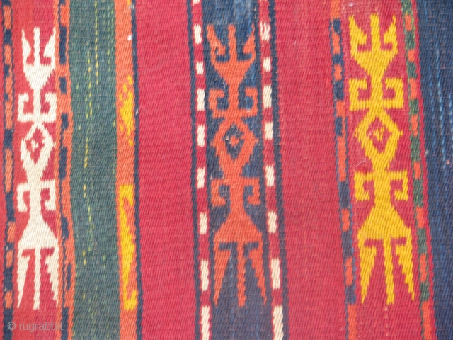 This is an old ghadjari flat weave with all natural colors and its in a good condition