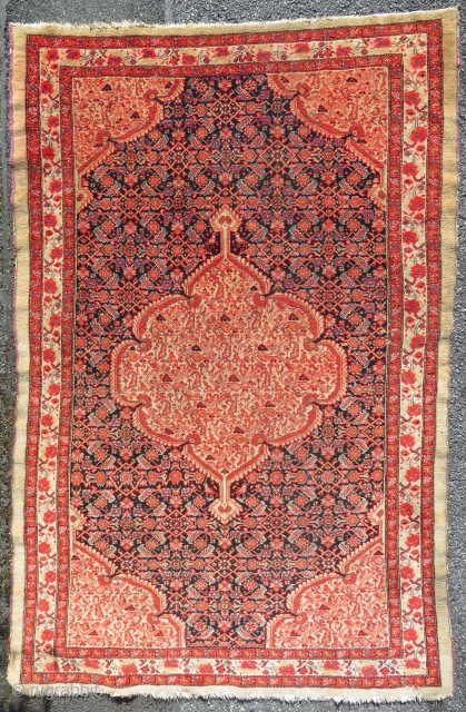 Antique Malayer on camel background.  203 x 130 cm  Circa 1900  Well preserved with little border damage (check photos)