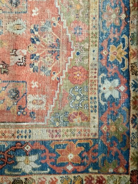 Ushak double-niche Rug. Approx 200cm x 125cm. Heavy wear in places. Sides and ends (folded over and taped) original. No repair or restoration. Contact me for further pictures. Lovely palette: ultramarine border,  ...