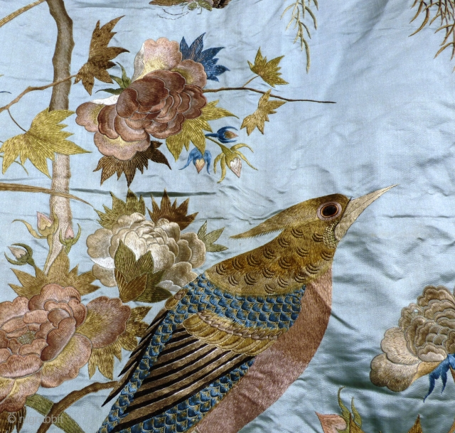 Large Chinese antique silk on silk-satin embroidery, minor damage in places. Birds, plants and insects.   Please contact for further info and shipping details. Available for viewing at: Stitches in Time - Exhibition  ...