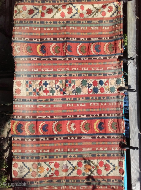 A pair Antique Lakai Ghudjeri and therme embroidered wool hangings, Uzbek. Size: 2.5m x 1.5m minor damage to sides and ends.