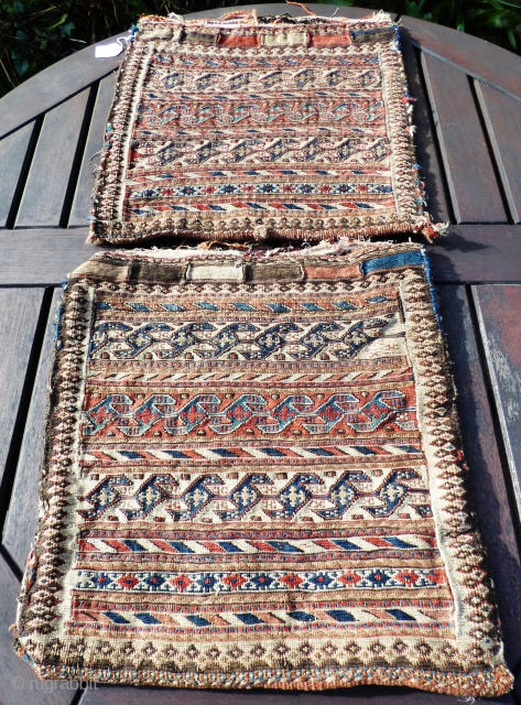 Pair of Persian Shahsavan Reverse Sumak bag faces. Wool. All good colours.