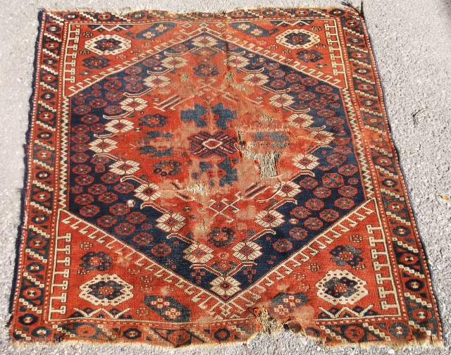"c.1890 BERGAMO RUG / SM. FRAGMENT......approx. 37"" x 38""......needs work, has wear, newer edges, old patch, etc.. Very reasonable.....Please ask. Checks drawn on U.S. banks preferred.