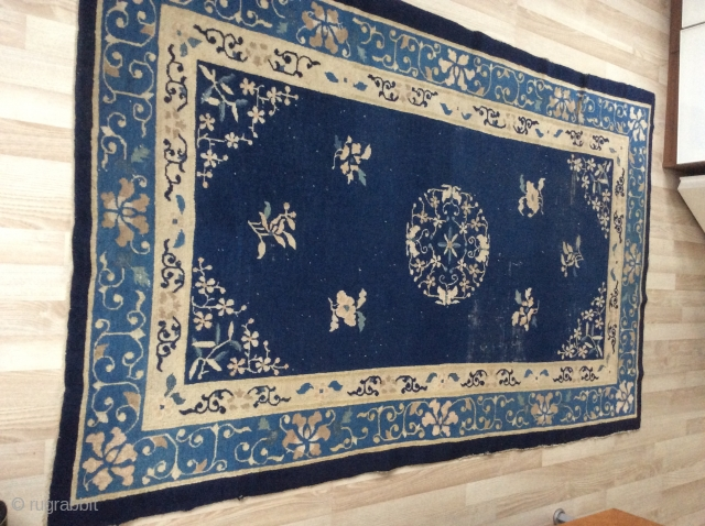 Antiq Chinese rug in very nice patterns and colors , worn some places, but no repairs. size 200x 121 cm, the price is very reasonable.  Sold