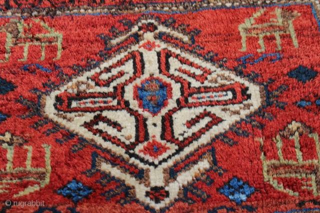 Wonderful antique afshar bagface good condition  natural colors Animal patterned size 0.36cm x 0.45cm