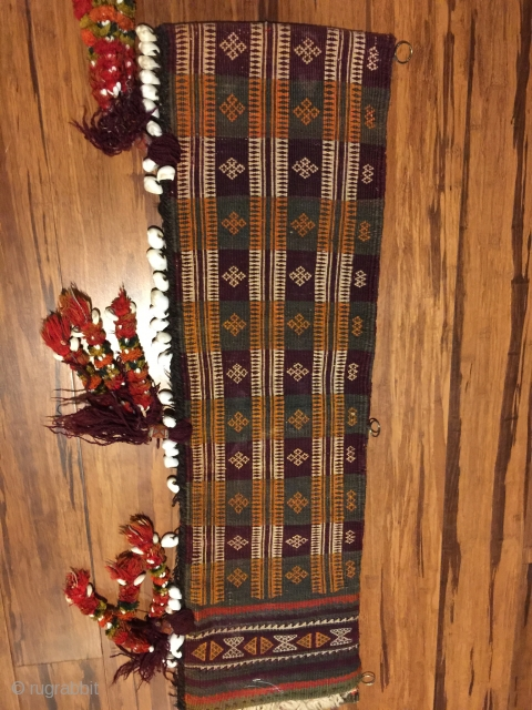 """Baluch pul donneh (money bag- or utility bag hung inside the tent). 35"""" X 10-1/2 in. All wool. Complete with festive multicolored tassels . Goat hair edge wrapping. Weft substitution weave. Perfect  ..."""