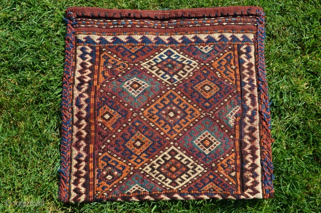 "Kordi flatwoven chanteh, knotted weft wrapping 1'4"" X 1'3"". Lain district Eastern Khorasan. Early 20thC. Natural colors. Excellent condition."