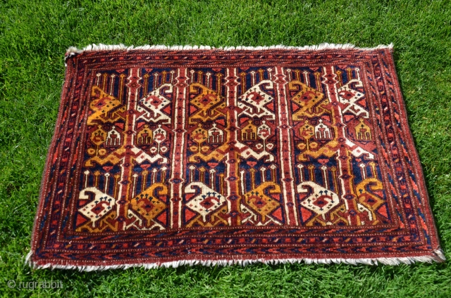"Uzbek ikat design torba. 20"" X 34"". Wool. Circa 1900. Excellent original condition with full pile. Beautiful natural dyes. Fine weave. Favorable price."
