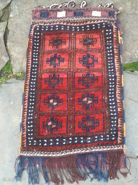 """S.E. Persian pile balisht, probably Afshar. 32"""" X 19"""". Full pile. Intact bicolor fasteners (typical of Afshari work). Makes a great pillow. Bargain priced. $150 including shipping in the US"""
