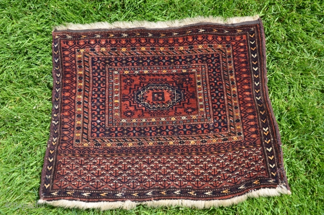 "Fine antique Turkmen bagface, 20"" X 16"". Wool and silk. Natural colors. Incredibly fine weave ca. 256 kpsi. Bargain price."