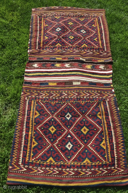 "Uzbek kilim khorjin. 140 cm X 70 cm. First 1/2 20th C. Wool and cotton (white). All natural dyes. Excellent condition. Published in Besim ""Mythos und Mystik "" Band 6 (Pl. 30b.)  ..."