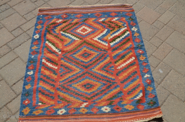 "Bakhtiyari sofreh, 3'3"" X 3'11"". Early 20th C. Wool. Double interlocked tapestry (last two images show the back). Bright natural color palette. Near perfect condition. Clean and floor ready."