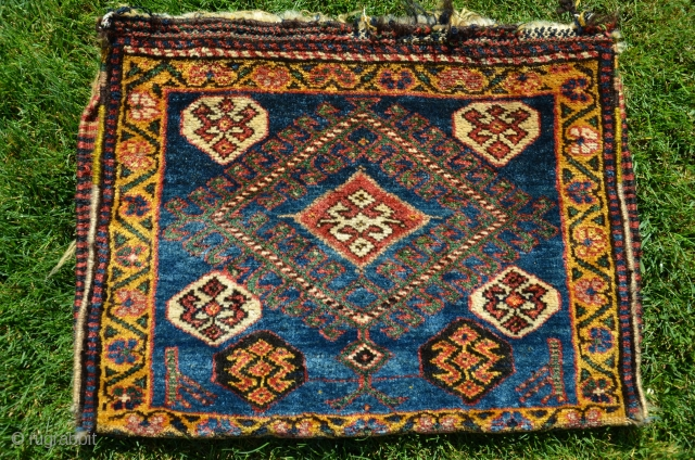 "Kurdish pile 1/2 khorjin. 23"" X 17-1/2"". 19th C. Beautiful natural dyes including exceptional gold and green shades. Full pile. Excellent condition (open along sides, as shown)."