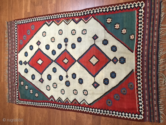 very nice 19th century Qashqai Kilim great colors , size is 4.11x7.11