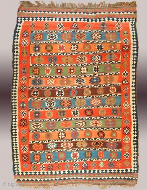 Stock #A104 | Quashqai Kilim | Circa: 1900\'s | Size: 5 x 8.10