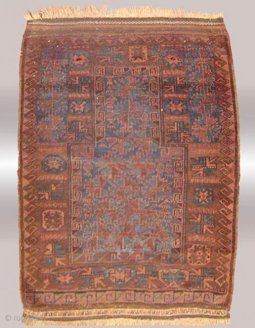 Stock #A163 | Baluch Prayer Rug | Circa: 1920\'s | Size : 3 x 4 feet