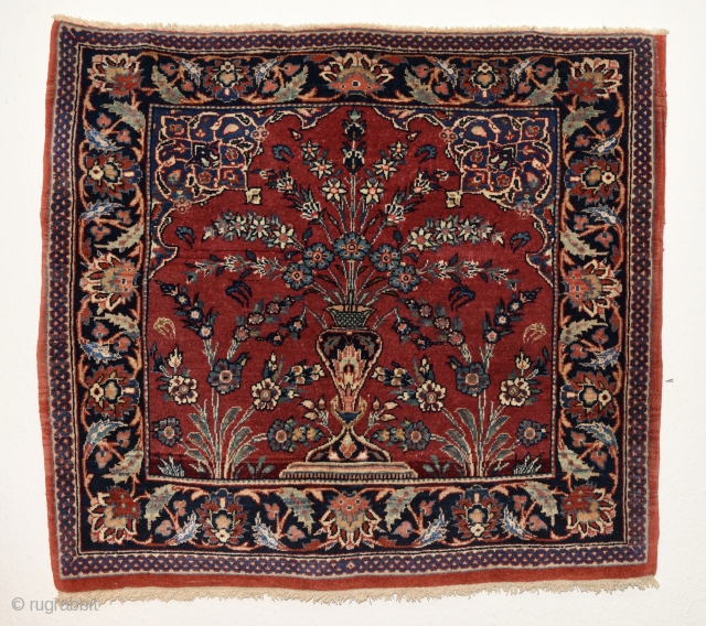 Kashan with silk highlights. 78cmx71cm. In very good condition. Full pile.