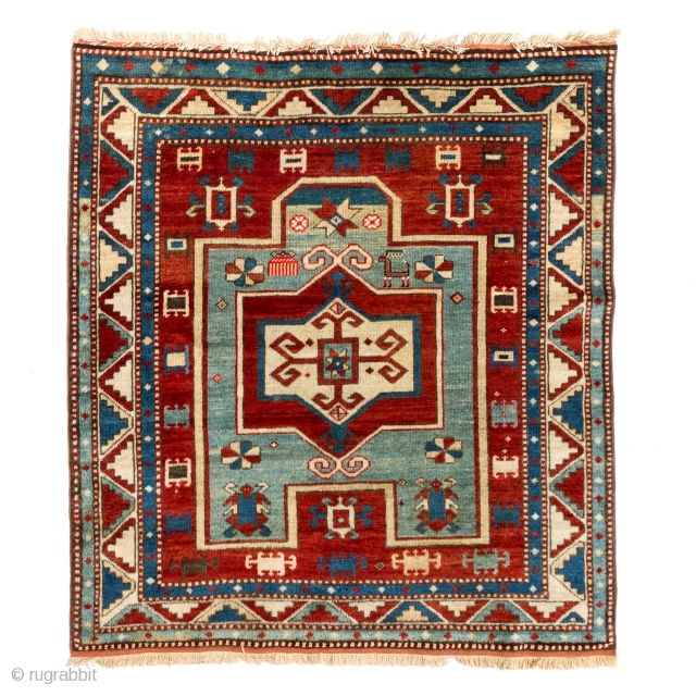 Antique Caucasian Fachralo Kazak prayer rug. Circa late 19th century. Excellent natural colours. 145cm x 125cm