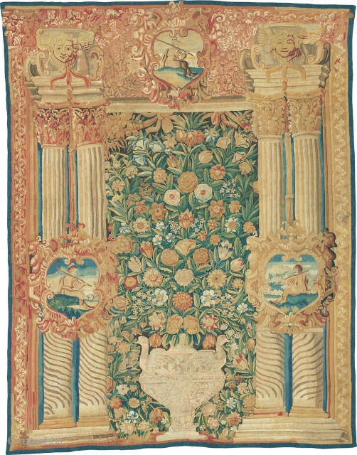 """Antique Flemish Tapestry The Netherlands Early 17th Century 8'10"""" x 6'10"""" (269 x 208 cm) FJ Hakimian Reference #22080"""