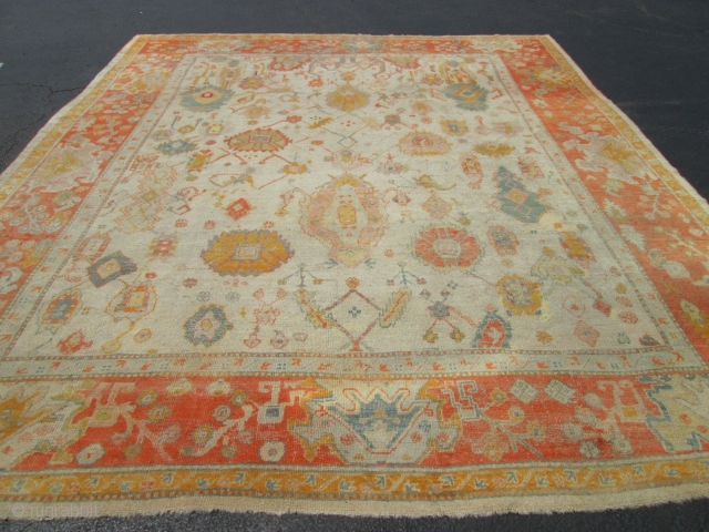 Awesome Antique Turkish Oushak Rug.