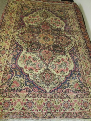 Very Pleasant Antique Persian Laver Kerman Rug.